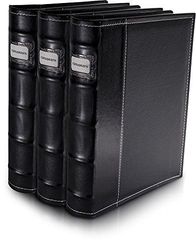 Bellagio-Italia Black DVD Storage Binder Set - Stores Up to 144 DVDs, CDs, or Blu-Rays - Stores DVD Cover Art - Acid-Free Sheets