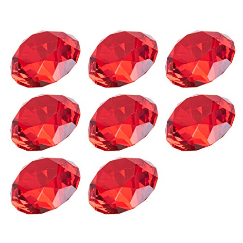 LONGWIN 30mm(1.2 inch) Crystal Diamond Themed Dinner Party Table Decoration Party Favors Gift for Kids Pack of 8 (Red)