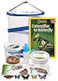 Nature Gift Store Live Butterfly Growing Kit: Shipped with 5 Live Caterpillars Now, Pop-Up Cage, Book and Stickers Bundle