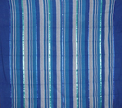 India Arts Heavy Cotton Ribbed Bedspread 98' x 88' Full Blue