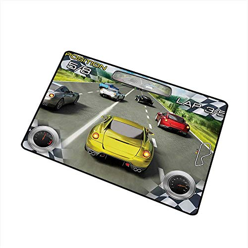 Wang Hai Chuan Cars Inlet Outdoor Door mat Car Racing Speedy Inspired Illustration Need for Speed Road Competition Motorsports Theme Catch dust Snow and mud W15.7 x L23.6 Inch,Multi