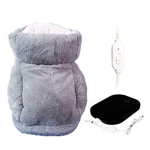 MCTY Calentadores de pies eléctricos de calor, suave y peludo, con USB, calentador de pies para hombres y mujeres, cojín de calentamiento de pies portátil, calentador de pies para clima frío en casa
