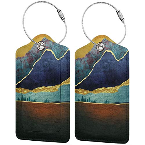 My Daily Painting Retro Multicolor Luggage tag PU Leather Bag tag Travel Luggage ID Luggage tag 1 Piece
