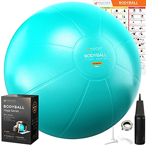 Exercise Ball Yoga Ball Chair for Fitness, Stability, Pilates, Pregnancy, Birthing, Therapy or Workout - 55cm / 65cm / 75cm Extra Thick, Anti-Burst & Non-Slip, Gym Quality Balance Ball - Pump & Guide
