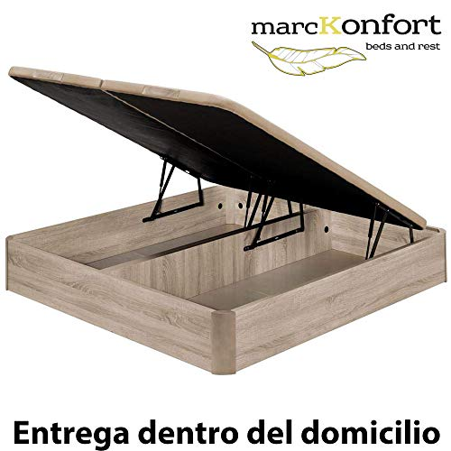 marckonfort Canapé abatible 180X200 de Gran Capacidad con Esquinas Redondeadas en Madera, Base tapizada 3D Transpirable Color Roble