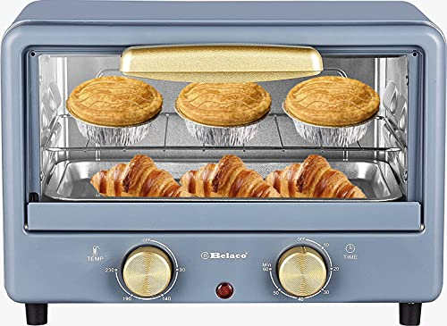 Belaco BTO-1010L Retro look Mini 10L Toaster Oven Tabletop Cooking Baking Portable Oven 750w 60 min Timer 100-230° Stainless Steel Heating Tube incl. Baking Tray & Wire Rack