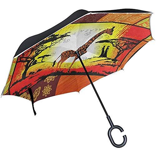 Inverted Umbrella Africa Ägyptische Kultur Giraffe Reverse Umbrella UV-Schutz Winddicht für Auto Regen Sun Outdoor Schwarz