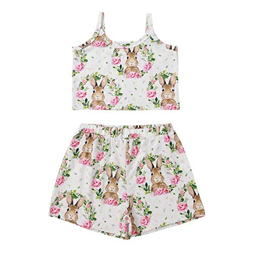 Newborn Baby Girl Easter Clothes Set Little Baby Girl Summer Shorts Outfits Cute Bunny Printed Sling Shorts Easter Clothes Toddler Infant Girls Rabbit Printed Easter Pyjamas Gift