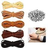 5pc Cordones de Cuero,5m*3mm Cuerda de Cuero para Pulsera,Cordón de Piel,Cuerda de Gamuza,cordón de Gamuza para Hacer Pulseras,Cor