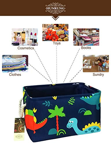 L, Blue Forest Dinosaur Clothes Perfect for Kid Rooms//Playroom//Shelves Books HUNRUNG Rectangle Storage Basket Cute Canvas Organizer Bin for Pet//Kids Toys