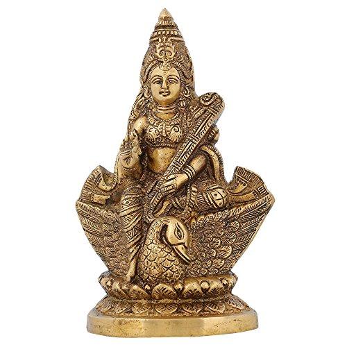 Shalinindia Hinduismus Symbol Messing Statue Göttin Saraswati für Puja Mandir 17,8cm, 1,2kg