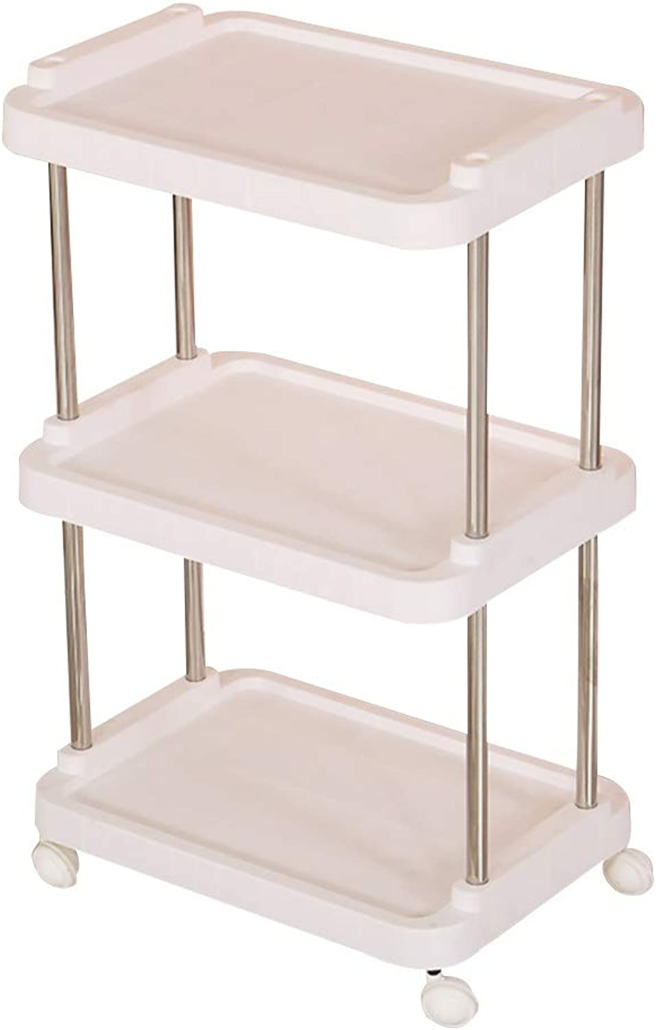 Serving Trolley Cart Beauty Salon ABS Plastic Stainless Steel Pipe Silent Wheel 3 Tier Easy to Install Easy to Clean, Load 30 Kg, 3 colors (color   White)