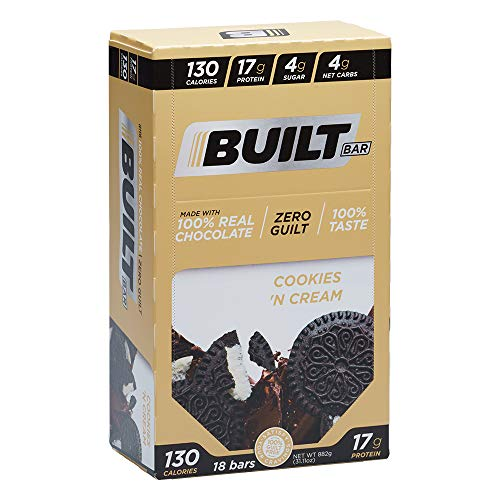 Built Bar 18 Pack Protein and Energy Bars - 100% Real Chocolate - High In Whey Protein And Fiber - Gluten Free, Natural Flavoring, No Preservatives (Cookies