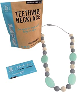 Teething Necklace For Moms To Wear and Baby To Chew, Chewbeads Chewlery Teether and Instant Pacifier for Teething Infants. Made From BPA Free Safe Silicon By JUNGO BAMBINO (Blueberrymint)