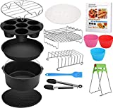 8 Inch Air Fryer Accessories XL, 16 Pcs with Recipe Cookbook And Magnetic Cheat Sheet for Gowise Ninja Cosori Cozyna Philips Power 4.2Qt - 5.8Qt Deep Fryer, Dishwasher Safe, BPA Free