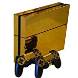 Honbay® Gold Glossy Decal Skin Sticker for Playstation 4 PS4 Console+Controllers
