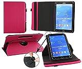 Emartbuy® Odys Pro Q8 8 Zoll Tablet Universal (7-8 Zoll) GepolsterteDesign Dark Rosa 360GradrotierendeStandFolioGeldbörseTascheHülle + Rosa Eingabestift