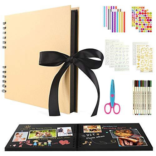 BOZHZO Álbum de Fotos Scrapbook Espiral, DIY Scrapbooking Álbum Set (80 Páginas)...