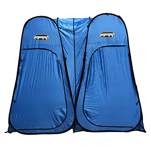 MMG Double Tent, Lightweight Instant Pop Up Design use as Dressing Room, Fishing Shade, Private Shower, Beach or Camping shelter, Indoor or Outdoor, 7 feet Height, Foldable, Bag Included, Blue