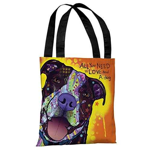 One Bella Casa 72120TT18P 18 in. Daisy Pit with Text Polyester Tote Bag by Dean Russo