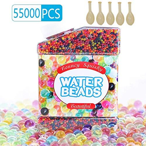 HEPAZ 55000 PCS Bolas de Gel de Agua, Perlas No Tóxicas Crecen En Agua,Perlas de Gel para decoración, (5 Globos Adicionales Incluidos)