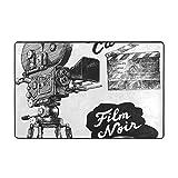 FQWEDY Badematte,Vintage Filmkamera Zeichnung,Rutschfester Badezimmerteppich Teppich
