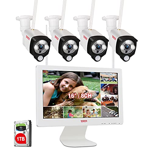 [3MP&2 Way Audio] Tonton Wireless All-in-One Ultra HD Security Camera System with 16 Inch Monitor, 8CH 5MP NVR with 1TB HDD,4PCS 3MP Outdoor Bullet IP Cameras with PIR Sensor,Floodlight,Plug and Play
