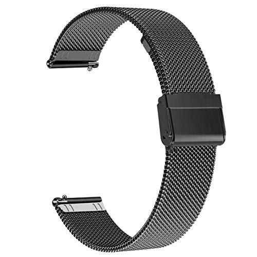 WATORY Compatible avec Daniel Wellington/Fossil Gen 4 Q Venture HR Bracelet de montre de rechange en acier inoxydable tissé 18 mm pour Garmin Vivoactive 4S 40 mm Noir
