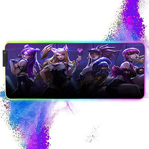 RGB Large Gaming Mouse Pad,Mousepad with Non-Slip Rubber Base and 12 Lighting Modes,4mm Thick,Glowing LED Soft Extended Large Mouse Mat,Mousepad for Laptop and Computer 11.8x31.5 inch