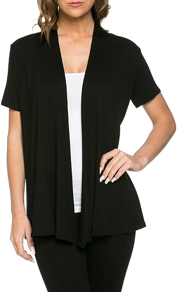 Azules Womens Short Sleeve Open-Front Vest Cardigan (Black, M)