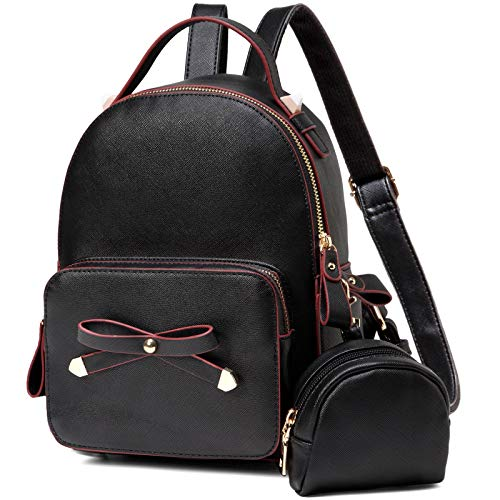 Mini Backpack,VASCHY Cute Small Bow-knot Backpack for Women, Ladies and Girls with Detachable Coin Pouch, Black