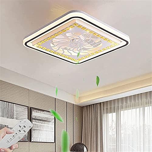 Ventilador De Techo Con Luz, Y Control Remoto LED Suave, Velocidad De Viento Ajustable Y Temperatura De Color, Luz De Techo Para Dormitorio Para Niños Habitación De Sala De Estar (Color : Quadrat)