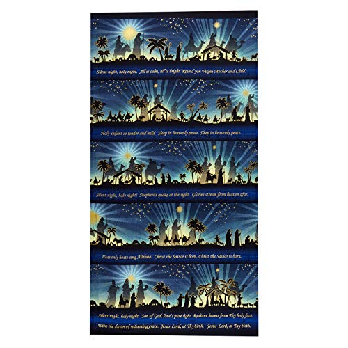 Henry Glass Metallic Silent Night Song 24in Panel Midnight Quilt Fabric