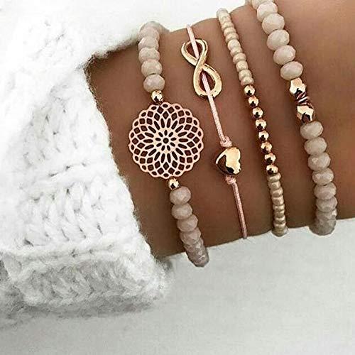 Seraphis Perlen-Armband mit Steinen für Damen mit Herz, Urlaubs-Accessoire, Perlenkette, Schmuck, Geschenk für Sie