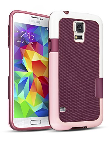 TILL for Galaxy S5 Case, TILL(TM) Ultra Slim 3 Color Hybrid Impact Anti-Slip Shockproof Soft TPU Hard PC Bumper Extra Front Raised Lip Case Cover for Samsung Galaxy S5 I9600 GS5 G900V [Wine & Pink]