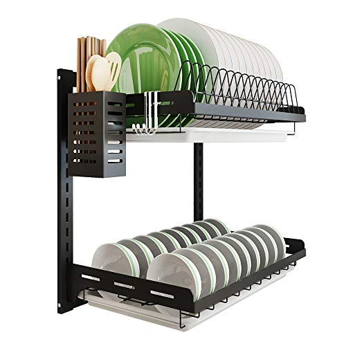 Kitchen Dish Rack Hanging Drying Plate Organizer...