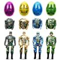 QINGQIU 4 Pack Jumbo Soldier Deformation Easter Eggs with Toys Inside for Kids Boys Girls Easter Gifts Easter Basket Stuffers Fillers