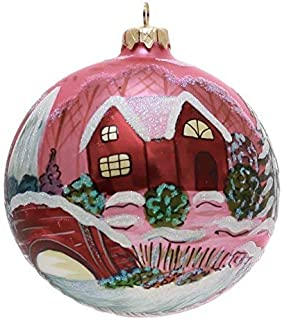Church and Bridge Hand Painted and Mouth-Blown Christmas Ornament Ball - Produced by hand in Poland