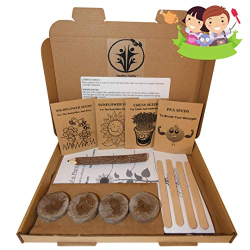 Kids gardening set, Grow your own kit for children, Wildflower seeds, Sunflower seeds to grow, Cress seeds, Pea Seeds, Garden set for kids, Seed kits for kids, Childrens gardening set, Flower seeds