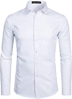 PARKLEES Men's Long Sleeve Dress Shirt Solid Slim Fit Casual Business Formal Button Up Shirts with Pocket
