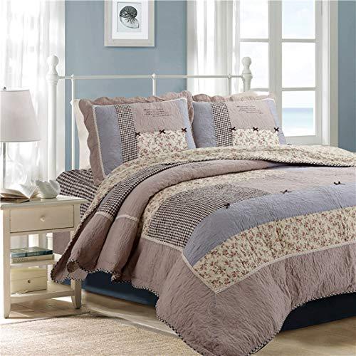 Teyun. Bett Europa und Amerika aus Reiner Baumwolle Handgemachte Patchwork Quilting Dreiteilige (Color : Multicolor)