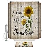 You are My Sunshine Duschvorhang & Matte Sets Sonnenblume Retro Zeitung Duschvorhang Badsets mit Teppichen 60