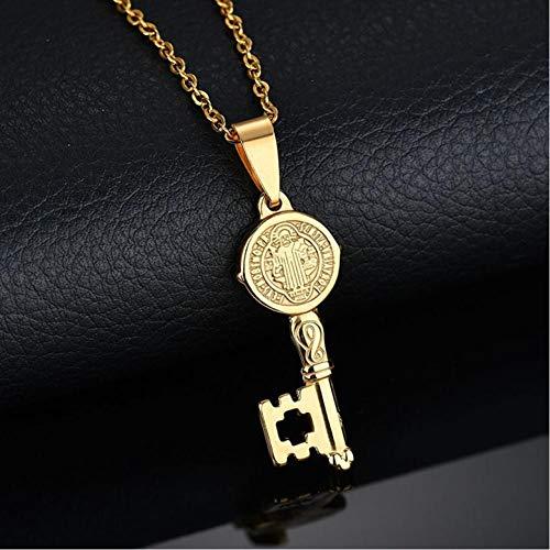 VFDGB Collar Colgante De Medallas De Jesús De Acero Inoxidable para Hombres Cadena De Eslabones Saint Joyería Antigua Mujer Collier