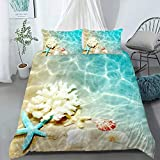 AILONEN Ocean Themed Duvet Cover Set, Superior Beach Theme Kids' Bedding Sets & Collections Full Size,Coastal Comforter Cover,Teen Boys Girls Childrens Bed Sets,Blue Bedroom Decor,Microfiber Fabric
