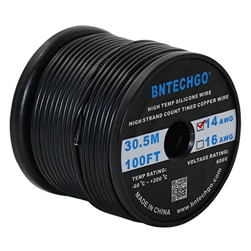 BNTECHGO 14 Gauge Silicone Wire Spool 100 ft Black Flexible 14 AWG Stranded Tinned Copper Wire