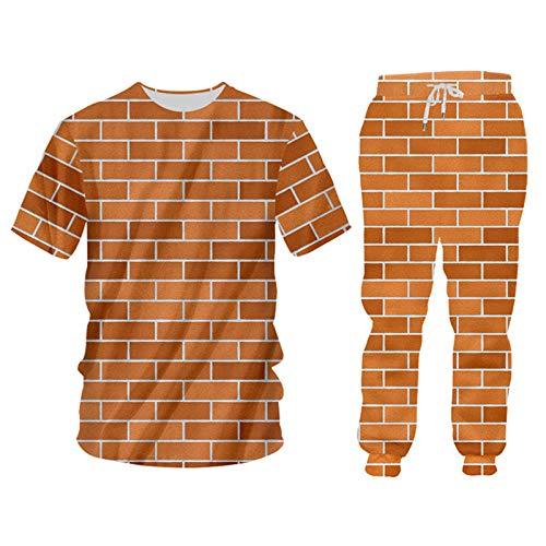 Pandodut 2 stücke Set rote backstein Mauer drucken subrts Hoodies Hosen Frauen/männer Ziegel Trainingsanzug XL