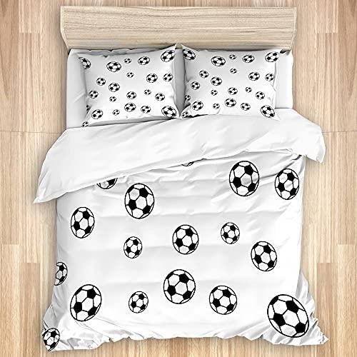 PATINISA Bedding Juego de Funda de Edredón,Balones de fútbol de Diferentes tamaños Cubiertos con...