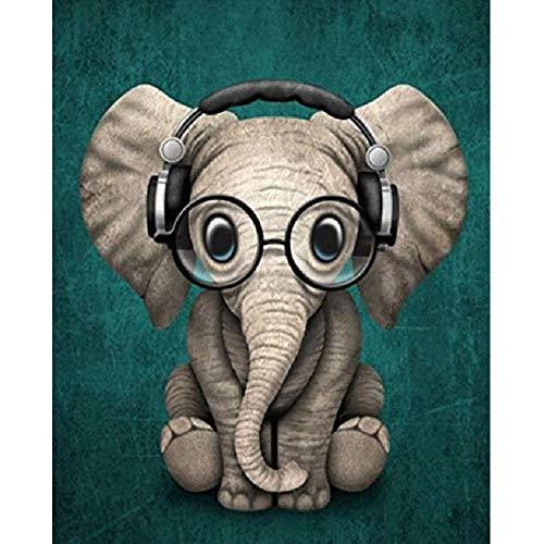 WZZPSD Puzzle 1000 Pezzi Elefante con Gli Occhiali Che Ascolta La Musica Salotto Puzzle in Legno Fai da Te Stile Regalo per La Casa