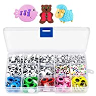 EAONE 1700pcs 4mm-15mm Googly Wiggle Eyes with Self Adhesive Mixed Multicolored Eyes for Craft Sticker,for School Projects and DIY Activities