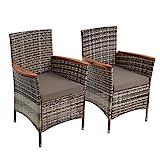 ESTEXO Polyrattan Gartenstuhl 2er Set Akazie Holz Rattan Stuhl Garten Sessel Stuhlset Balkonstühle Terrassenstühle Balkonsessel (Beige-Braun)